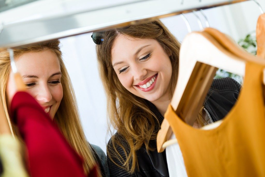 Women shopping clothes