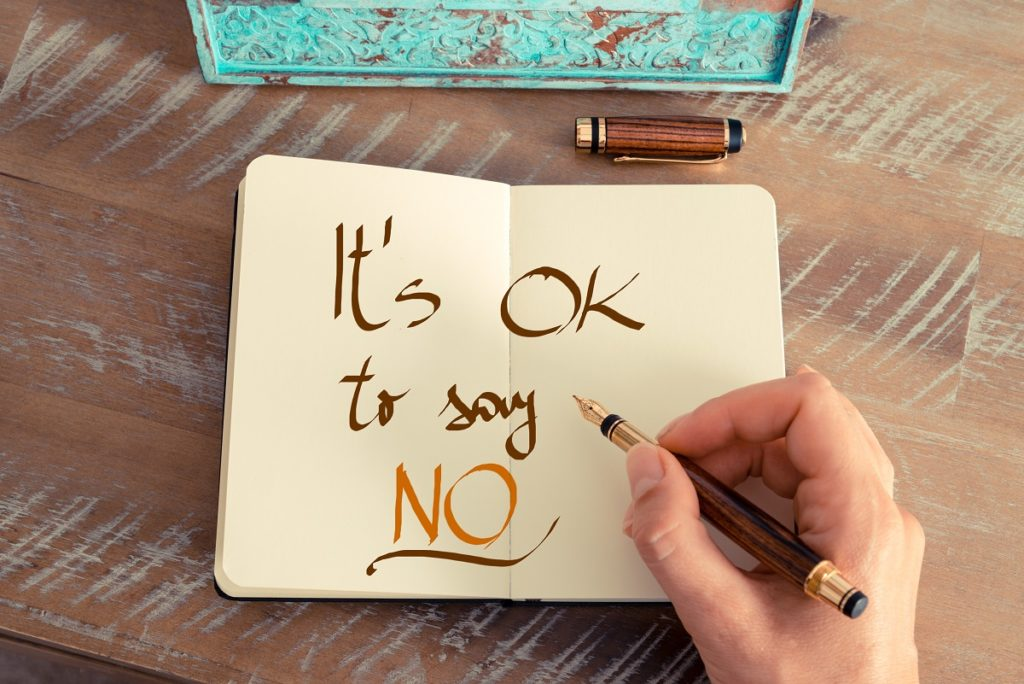calligraphy saying it's okay to say no