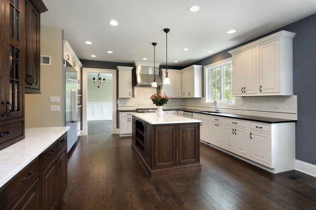 Kitchen with bright lighting