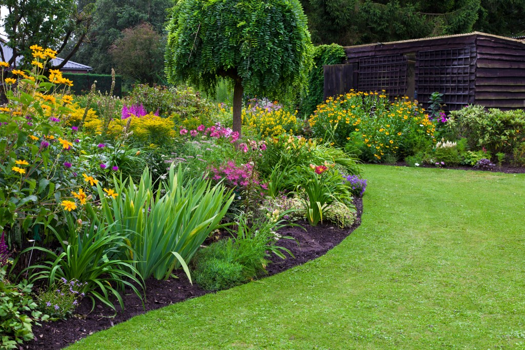 colorful landscaped formal garden