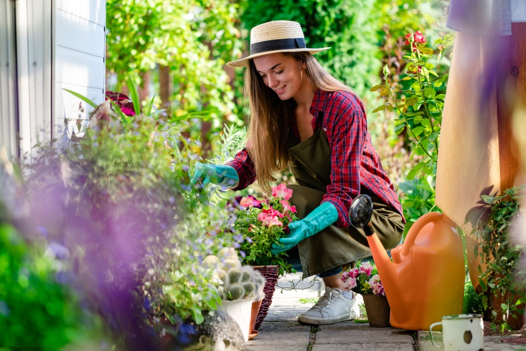girl decorating garden
