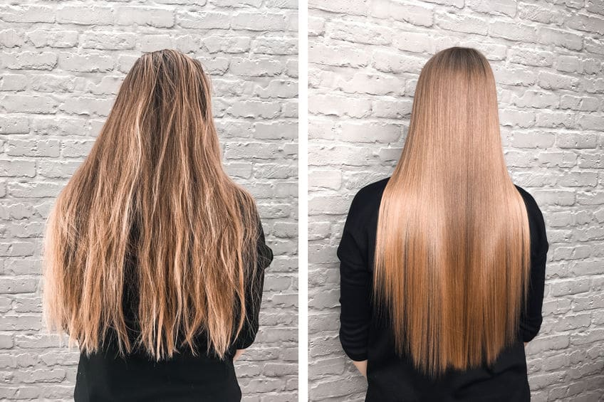 Before and after japanese hair straightening treatment