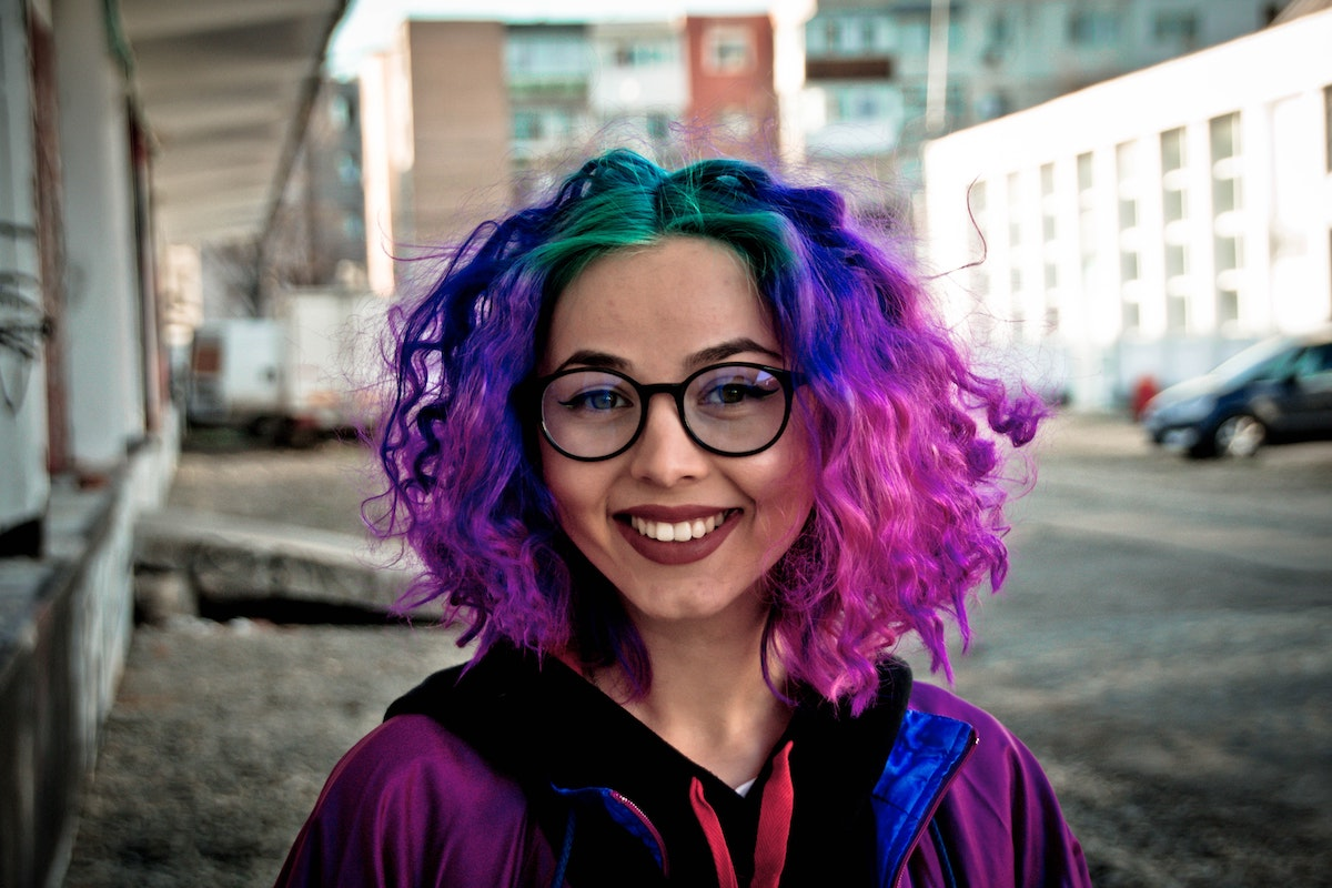 woman with vibrant colored hair