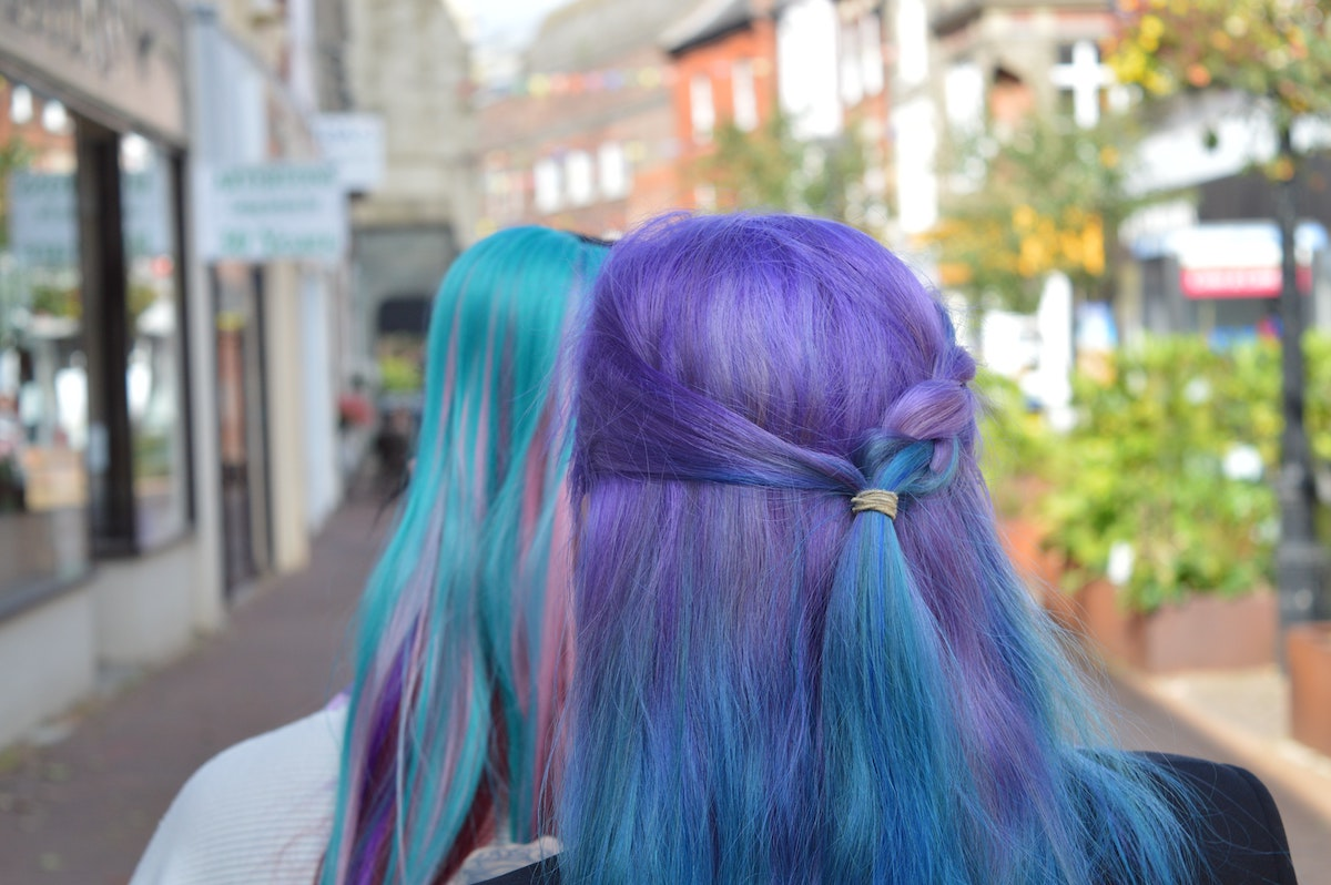 women with purple and blue hair
