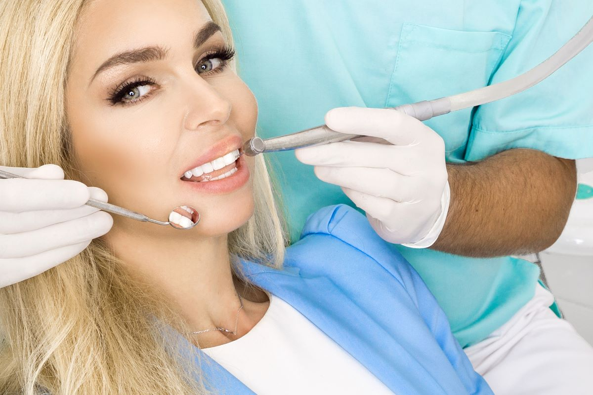 woman at the dentist smiling